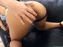This spoiled brunette knows just how good her lover's sperm tastes. She sucks his swollen dick passionately. Then he fucks her tight snatch in missionary position.