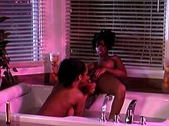Lesbian cougars sedate each other with wine then they proceed to take a bath and caress their big tits before masturbating with a vibrator