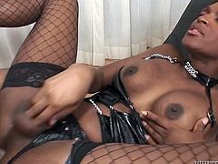 Lusty black shemale with sexy ass enjoyed getting her hot blooded anus destroyed by hard cock of her partner from behind and in mish pose. Watch that steamy TS fuck in Fame Digital porn video!