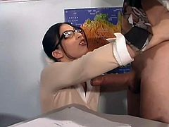 Cute brunette Polly is having fun with Dirty Harry in a lecture room. The girl pleases the man with a deepthroat blowjob and lets him pound her twat from behind.