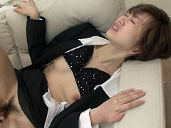 Short haired secretary Akina Hara gets her hairy snatch slammed hard by her boss