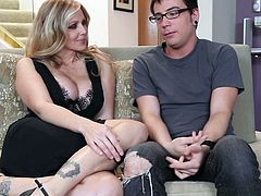With the step son eager to crack her shaved twat, mature Julia Ann is in for a nasty adventure on the couch