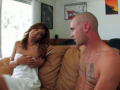 Spicy just like hot sauce Melanie Rios knows a lot about the art of pleasing men. When she nocties the big bulge in her lover's jeans, she goes straight for his swollen cock. Press play and I'm sure you'll appreciate her cock sucking skills.