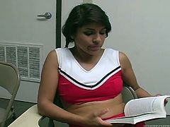 Brunette Latina teen in cheerleader uniform teases her cocky teacher with her big bubble butt. Cutie plays with her big boobs for a while and then sucks teacher's big hard dick.