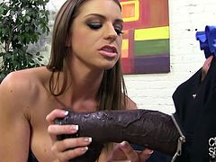 Brooklyn Chase is one hot and nasty mistress and she likes to play with her slaves while her lover fucks her hard. See her enjoying the large black penis and toying her pet.