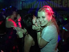 Check out these salacious and dirty babes in action. They are getting drilled and mouth fucked at the party and it only turns them on even more.