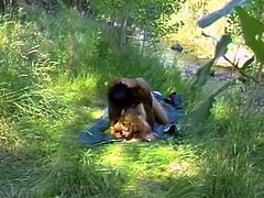 Insatiable light haired chick with huge tits dated her brutal African lover in forest every time she wanted to fuck.They had awesome mish and doggy styles fuck. Look at that dirty interracial sex in The Classic Porn sex clip!