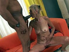 This fair haired skinny granny doesn't know what shame is. She fucks with African boy in reverse cowgirl pose and gets her smelly old kitty licked properly as well. Just look at that nasty fuck in Fame Digital sex clip!