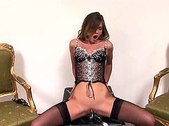 Sexy Olivia La Roche wears her sexy stockings as she gets a big cock up her ass while she gets her filthy mouth around another one.
