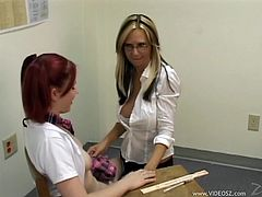 Horny lesbian couple Alexa Brooke and Linzi are playing dirty games indoors. The milf seduces the college girl, wearing a miniskirt, then they lick and toy each other's pussies on the floor.