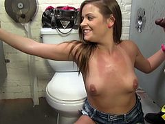 A beautiful White babe shows her nice tits in a toilet cabin. Ashlynn sucks big black cocks. After some time she lifts a skirt up and gets fucked in her tight pussy.
