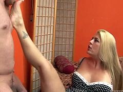 This chubby light haired chick looks aggressive. She hates when her kinky man disturbs her. She is going to blow his hard cock in an incredibly hard manner.Watch that hot blondie in Fame Digital porn clip!