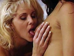 The sexy lesbian MILFs Asia Carrera and Julia Ann get in the bath tub and lick the hell out of their delicious tight buttholes.