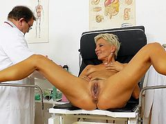 Her pink pussy got stretched out by horny doc during gyno exam