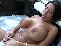 Stunning raven-haired goddess provides horny buddy with awesome blowjob and terrific titfuck. Then she rides meat cock in a reverse cowgirl pose and gets rammed doggystyle. Finally, dude pounds her in missionary pose.