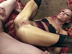 She is a stunning, sexually charged whore with a never ending sex drive. Cock crazed slut is an anal freak. She gets her tight butthole filled with pretty thick cock but she has one more dick to handle.