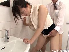 The gorgeous Yua Kuramochi gets really horny when this lucky bastard licks her delicious ass and ends up getting drilled in a public toilet.