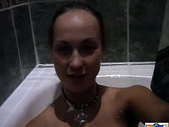 Dude, my mischievous dark-haired girlfriend lets me watch how she washing her body. She takes a bathroom and shaves her long legs in POV video. Just enjoy her hot body!