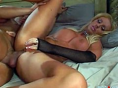 Full figured blonde beauty Cailey strokes her cunt while big dick rails her booty hole on her side from behind. Babe rides that big dick in reverse cowgirl pose and gets her mouth fill with big load of hot cum.