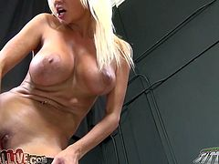Hot like fire blond haired tramp with massive jugs stood with her legs spread apart and fucked her pussy with gentle pink dildo. Take a look at this hot babe in My XXX Pass sex video!