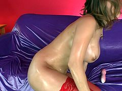 Sex appeal Asian girlfriend with jaw dropping big boobs masturbates her muff and gives eager blowjob. Be pleased with her gorgeous big boobs and oiled butt.