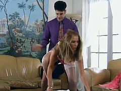 Make sure you check out this hardcore scene where the slutty Jasmine ends up with a mouthful of semen after being fucked while wearing stockings and high heels.