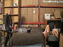 Hottie blonde girl fucking old man and doll