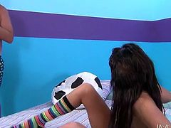 Two sex appeal brunettes lick each others pussies and then suck one hard juicy dick. Two insatiable lesbians love to arrange hardcore threesome parties and you can enjoy watching then for free.
