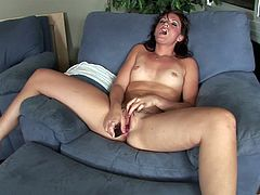 Brunette Babe With Sexy Small Tits Toys Her Hot Pussy