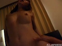 Sleeping Japanese babe with perfect boobs gets woken up by her horny boyfriend, who gives her a good hard doggystyle fuck.