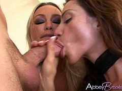Gorgeous Abbey Brooks and her sexy friend give this lucky bastard the sexiest blowjob and get their wet pussies drilled by his hard cock.