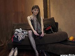 Voracious svelte skank wearing black lace stockings has mutual oral sex with dude and gets her meaty twat rammed mish. Then she rides cock on top and gets doggyfucked. Afterwards she gets poked in a sideways pose and dude cums on her face.