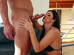 Horny raven haired mommy India Summer helps her man to get naked. Gorgeous milf kneels down and fills her mouth with 8 inches of manl meat.