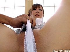 Horny Japanese skank Emily Takahash shows her cunt to two dudes and lets them play with it. After that she sucks the dudes' boners and welcomes them in her twat.