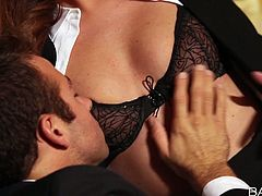 Sizzling brunette babe Maddy Oreailly unbuttons her blouse and seduces her boss