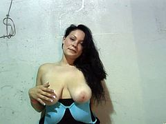 Get excited by watching this brunette cougar, with giant gazongas wearing panties, while she touches herself until she has an orgasm.
