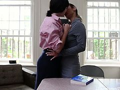 Check out these innocent mormon chicks getting so kinky at the office. One wastes no time and spreads legs to let her best friend lick her tight shaved pussy.