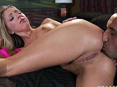 Filthy and hot blond haired babe with awesome body gets her cunt licked and rides a cock in cowgirl pose. Have a look at this chick in Brazzers Network sex video.