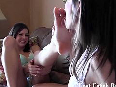Ashley Sinclair and her wild bff plays foot fetish. They love to show off their sexy feet and lick and suck their toes. Watch them enjoy the tickling sensation of it.
