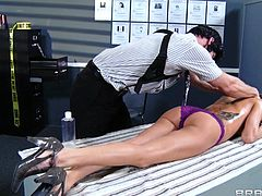 Sexy Gia Dimarco gets a hot massage at the office and ends up getting her sweet pussy screwed by Johnny Sins's huge cock.
