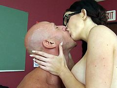 Insolent schoolgirl is about to amaze her teacher during sensual and very passionate fuck at school