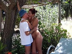 Oldje brings you a hell of a free porn video where you can see how the hot brunette Angel Rivas enjoys an old dude's hard cock in the garden while assuming very hot poses.