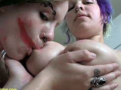 These gorgeous nasty lesbians like it nasty so they get down for some hot piss drinking and get it all over their perfect tits.