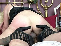 Kinky mature in stockings gets poked hard on the bed