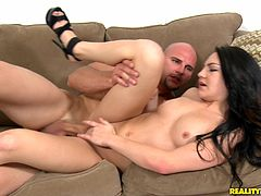 Watch this hardcore scene where the horny brunette is nailed by this guy's thick cock after being eaten out and sucking his big cock.