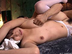 Lustful Japanese girl Rino Yoshihara shows her bushy coochie to a man and lets him eat it. After that they have sex in the missionary position.