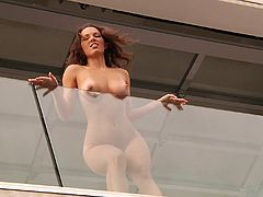 Click to watch this brunette babe, with natural boobs wearing a thong, while she gets fucked hard in so many different positions, like a real pornstar!