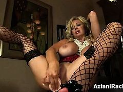 Busty blonde milf gets horny part1