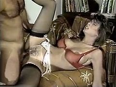 You are going to watch exciting retro sex video produced by The Classic Porn site. Sensual brunette gives deepthroat blowjob and then gets her pussy fucked missionary style.