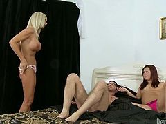 Two hot and zealous sluts share one lucky fucker's cock